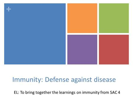 + Immunity: Defense against disease EL: To bring together the learnings on immunity from SAC 4.