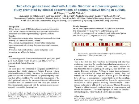 Two clock genes associated with Autistic Disorder: a molecular genetics study prompted by clinical observations of communicative timing in autism. D. Wimpory.