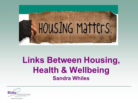 Links Between Housing, Health & Wellbeing Sandra Whiles.