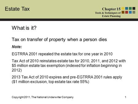 Estate Tax Chapter 15 Tools & Techniques of Estate Planning Copyright 2011, The National Underwriter Company1 Tax on transfer of property when a person.