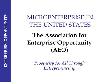 ENTERPRISE OPPORTUNITY Prosperity For All Through Entrepreneurship MICROENTERPRISE IN THE UNITED STATES The Association for Enterprise Opportunity (AEO)