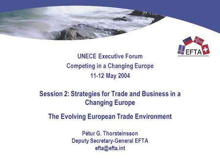 UNECE Executive Forum Competing in a Changing Europe 11-12 May 2004 Session 2: Strategies for Trade and Business in a Changing Europe The Evolving European.