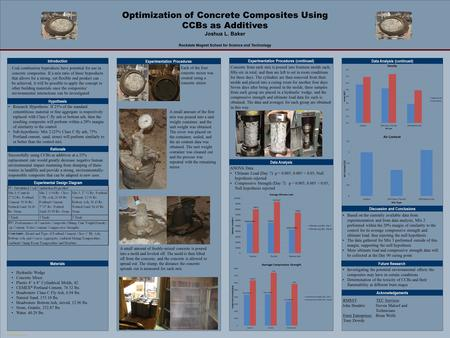 TEMPLATE DESIGN © 2007 www.PosterPresentations.com Optimization of Concrete Composites Using CCBs as Additives Joshua L. Baker Rockdale Magnet School for.