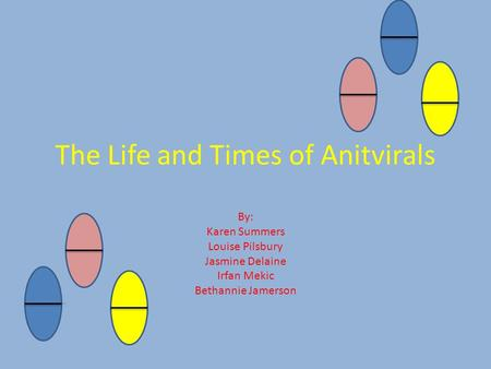 The Life and Times of Anitvirals By: Karen Summers Louise Pilsbury Jasmine Delaine Irfan Mekic Bethannie Jamerson.