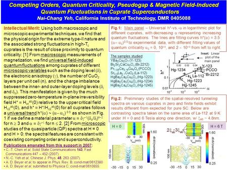 Competing Orders, Quantum Criticality, Pseudogap & Magnetic Field-Induced Quantum Fluctuations in Cuprate Superconductors Nai-Chang Yeh, California Institute.