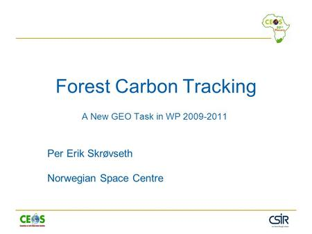Forest Carbon Tracking A New GEO Task in WP 2009-2011 Per Erik Skr ø vseth Norwegian Space Centre.