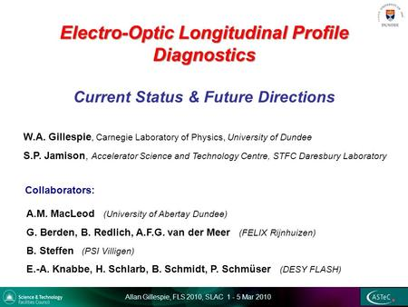 Allan Gillespie, FLS 2010, SLAC 1 - 5 Mar 2010 Electro-Optic Longitudinal Profile Diagnostics Electro-Optic Longitudinal Profile Diagnostics Current Status.