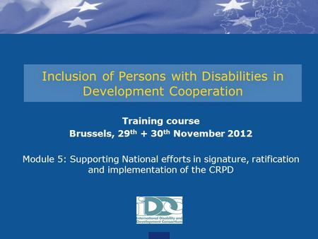 Inclusion of Persons with Disabilities in Development Cooperation Training course Brussels, 29 th + 30 th November 2012 Module 5: Supporting National efforts.