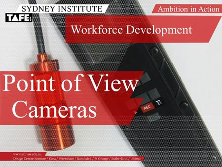 Ambition in Action www.sit.nsw.edu.au Point of View Cameras Workforce Development.