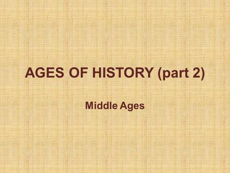 AGES OF HISTORY (part 2) Middle Ages. Ages of History Last classes it's been studied that History is divided in Prehistory and Human History. Prehistory.