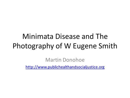 Minimata Disease and The Photography of W Eugene Smith Martin Donohoe