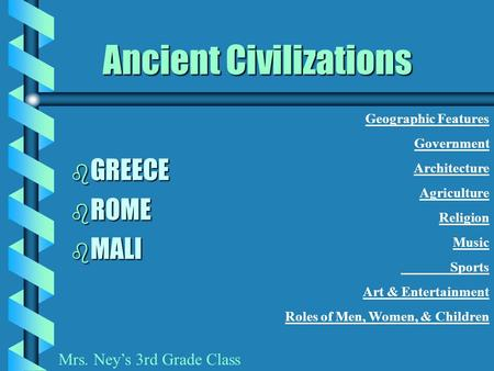 Ancient Civilizations b GREECE b ROME b MALI Geographic Features Government Architecture Agriculture Religion Music Sports Art & Entertainment Roles of.
