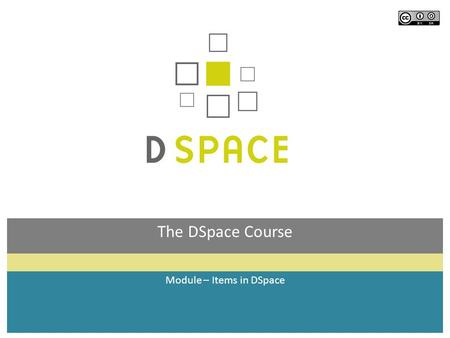 The DSpace Course Module – Items in DSpace. Module objectives  By the end of this module you will:  Understand what an item in DSpace is, and what it.