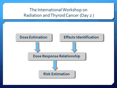 The International Workshop on Radiation and Thyroid Cancer (Day 2 ) Dose EstimationEffects Identification Dose Response Relationship Risk Estimation.