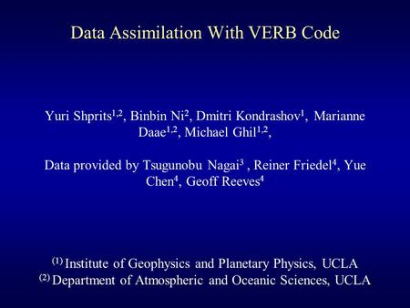 Data Assimilation With VERB Code