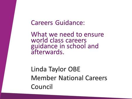 Careers Guidance: What we need to ensure world class careers guidance in school and afterwards. Linda Taylor OBE Member National Careers Council.