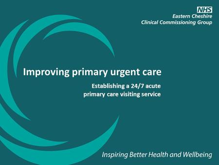 Establishing a 24/7 acute primary care visiting service Improving primary urgent care.