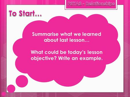 Summarise what we learned about last lesson… What could be today's lesson objective? Write an example.
