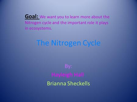 The Nitrogen Cycle By: Hayleigh Hall Brianna Sheckells Goal: We want you to learn more about the Nitrogen cycle and the important role it plays in ecosystems.