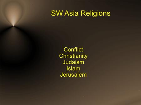 SW Asia Religions Conflict Christianity Judaism Islam Jerusalem.
