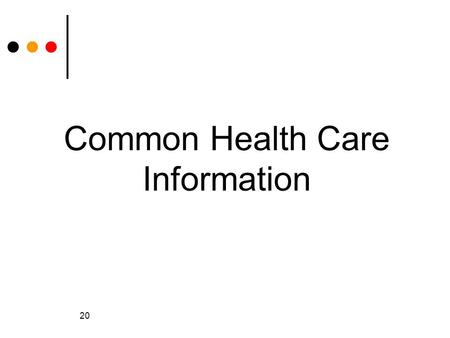 20 Common Health Care Information. 21 Publicly Funded Programs for Basic Healthcare Government sponsored (funded) health programs Not just for people.