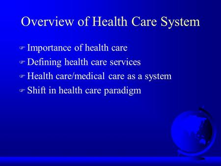 the importance of a health care system
