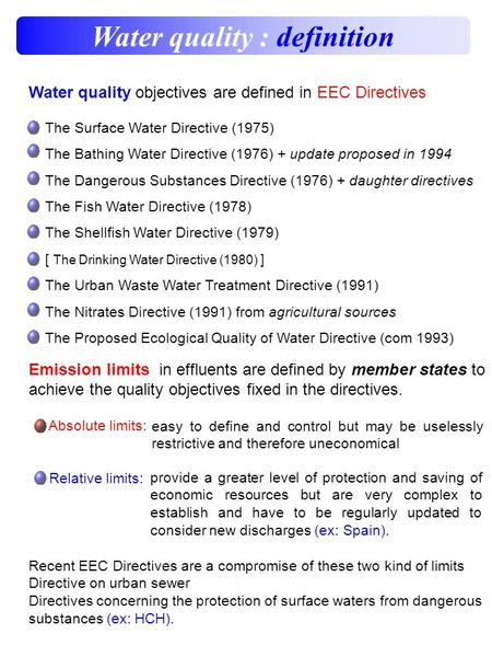 Water quality : definition Water quality objectives are defined in EEC Directives The Surface Water Directive (1975) The Bathing Water Directive (1976)