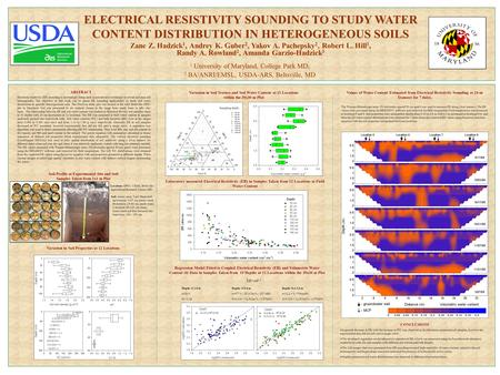 ELECTRICAL RESISTIVITY SOUNDING TO STUDY WATER CONTENT DISTRIBUTION IN HETEROGENEOUS SOILS 1 University of Maryland, College Park MD; 2 BA/ANRI/EMSL, USDA-ARS,