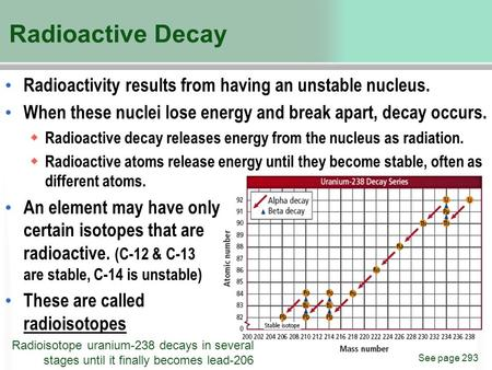 Radioactive Decay Radioactivity results from having an unstable nucleus. When these nuclei lose energy and break apart, decay occurs. Radioactive decay.