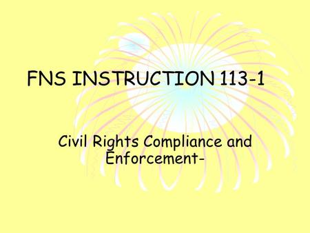 FNS INSTRUCTION 113-1 Civil Rights Compliance and Enforcement-