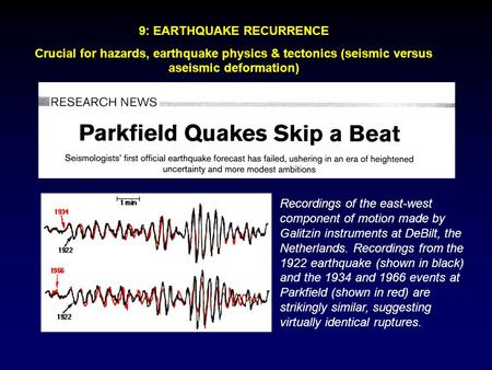 9: EARTHQUAKE RECURRENCE Crucial for hazards, earthquake physics & tectonics (seismic versus aseismic deformation) Recordings of the east-west component.