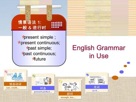 English Grammar in Use  present simple ;  present continuous;  past simple;  past continuous;  future 情景语法 1: 一般 & 进行时.