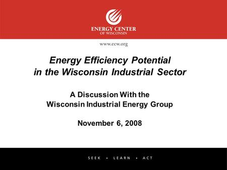 Energy Efficiency Potential in the Wisconsin Industrial Sector A Discussion With the Wisconsin Industrial Energy Group November 6, 2008.