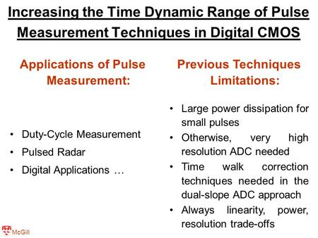 McGill Increasing the Time Dynamic Range of Pulse Measurement Techniques in Digital CMOS Applications of Pulse Measurement: Duty-Cycle Measurement Pulsed.