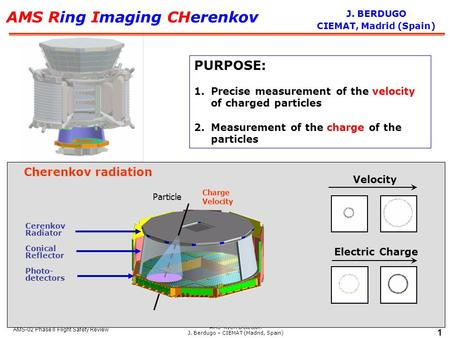 AMS-RICH Detector. J. Berdugo – CIEMAT (Madrid, Spain) 1 AMS-02 Phase II Flight Safety Review AMS Ring Imaging CHerenkov PURPOSE: 1.Precise measurement.