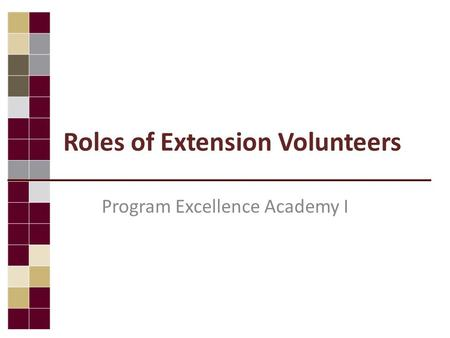 Roles of Extension Volunteers Program Excellence Academy I.