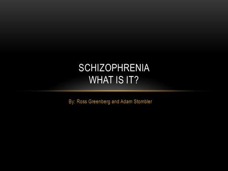 By: Ross Greenberg and Adam Stombler SCHIZOPHRENIA WHAT IS IT?