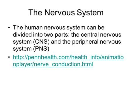 The Nervous System The human nervous system can be divided into two parts: the central nervous system (CNS) and the peripheral nervous system (PNS)