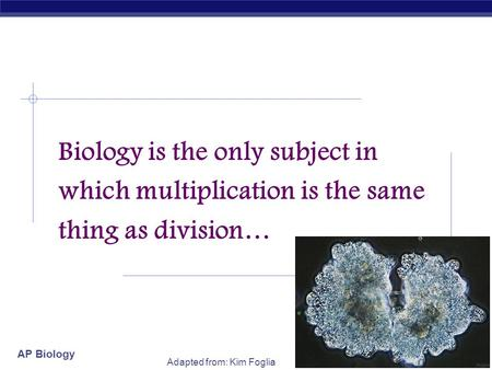 AP Biology Adapted from: Kim Foglia Biology is the only subject in which multiplication is the same thing as division…