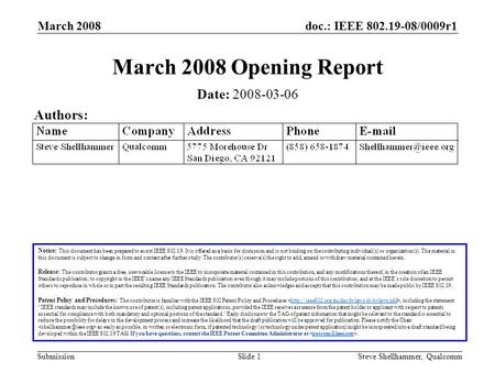 Doc.: IEEE 802.19-08/0009r1 Submission March 2008 Steve Shellhammer, QualcommSlide 1 March 2008 Opening Report Notice: This document has been prepared.