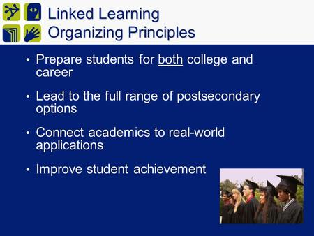 Linked Learning Organizing Principles Prepare students for both college and career Lead to the full range of postsecondary options Connect academics to.