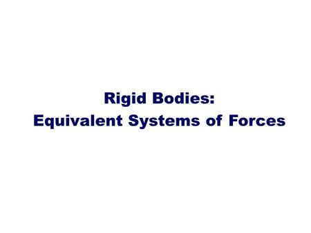 Rigid Bodies: Equivalent Systems of Forces. Introduction Treatment of a body as a single particle is not always possible. In general, the size of the.