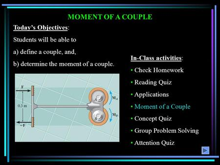 MOMENT OF A COUPLE In-Class activities: Check Homework Reading Quiz Applications Moment of a Couple Concept Quiz Group Problem Solving Attention Quiz Today's.