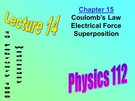 Chapter 15 Coulomb's Law Electrical Force Superposition.