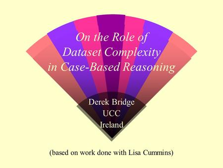 On the Role of Dataset Complexity in Case-Based Reasoning Derek Bridge UCC Ireland (based on work done with Lisa Cummins)