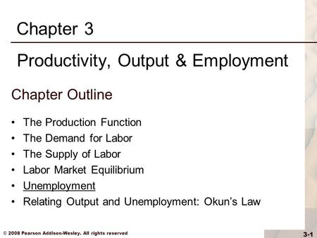 © 2008 Pearson Addison-Wesley. All rights reserved 3-1 Chapter Outline The Production Function The Demand for Labor The Supply of Labor Labor Market Equilibrium.