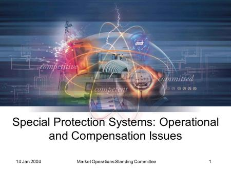14 Jan 2004Market Operations Standing Committee1 Special Protection Systems: Operational and Compensation Issues.