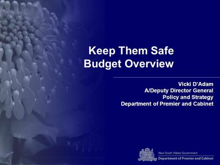 Keep Them Safe Budget Overview Vicki D'Adam A/Deputy Director General Policy and Strategy Department of Premier and Cabinet.