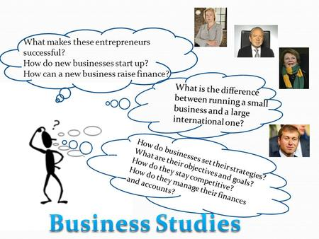 What is the difference between running a small business and a large international one? How do businesses objectives and goals? How do businesses set their.