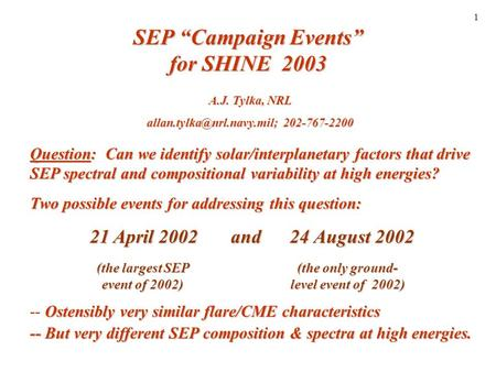 "1 SEP ""Campaign Events"" for SHINE 2003 Question: Can we identify solar/interplanetary factors that drive SEP spectral and compositional variability at."
